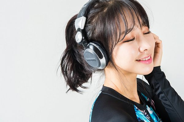 Tags: K-Pop, ICIA, Coca, Light Background, Headphones, White Background, Headdress, Hair Up, Eyes Closed, Ponytail