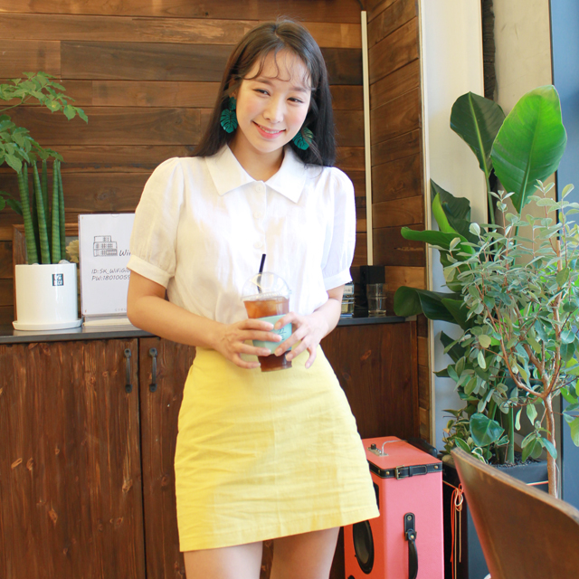 Tags: K-Pop, ICIA, Coca, Plant, Short Sleeves, Skirt, Yellow Skirt