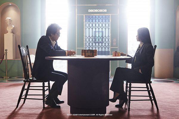Tags: K-Pop, K-Drama, Coin (IU), IU, Kim Yoon-seok, Table, Sitting On Chair, Suit, Duo, Chair
