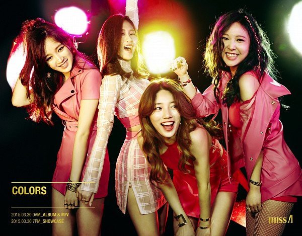 Tags: K-Pop, Miss A, Meng Jia, Min, Bae Suzy, Wang Feifei, Bracelet, Four Girls, Pink Skirt, Teeth, Grin, Bent Knees