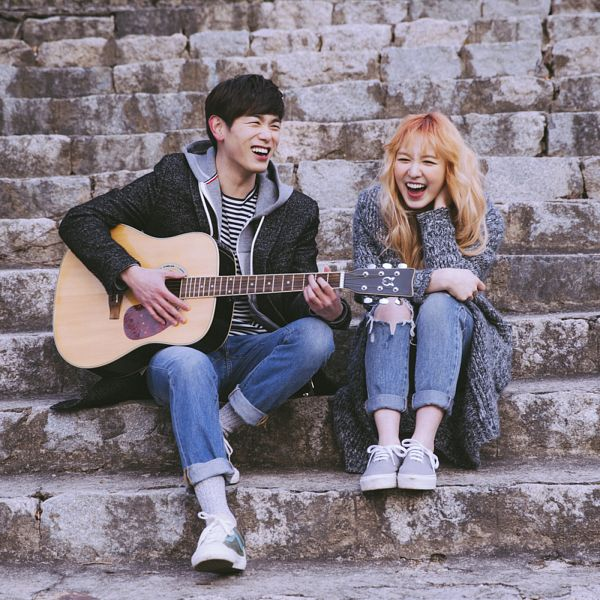 Tags: K-Pop, Red Velvet, Eric Nam, Wendy, Spring Love, Laughing, Gray Jacket, Jeans, Blunt Bangs, Musical Instrument, Sneakers, Gray Outerwear
