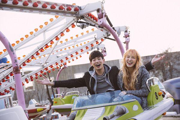 Tags: K-Pop, Red Velvet, Eric Nam, Wendy, Spring Love, Blunt Bangs, Gray Jacket, Wavy Hair, Hoodie, Amusement Park, Duo, Black Jacket