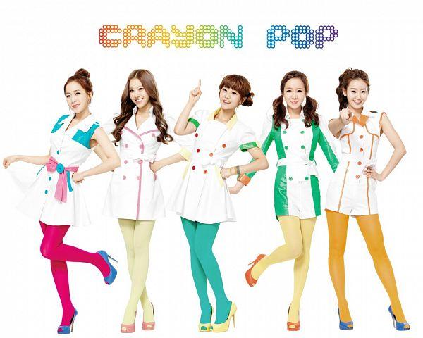 Tags: K-Pop, Strawberry Milk, Crayon Pop, Way, Ellin, Geummi, Soyul, Choa, Standing On One Leg, High Heels, Leg Up, White Outfit
