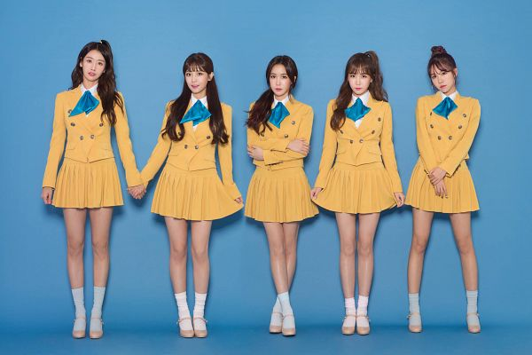 Tags: K-Pop, Strawberry Milk, Crayon Pop, Soyul, Choa, Way, Ellin, Geummi, Crossed Legs (Standing), Skirt, Blue Neckwear, Yellow Skirt