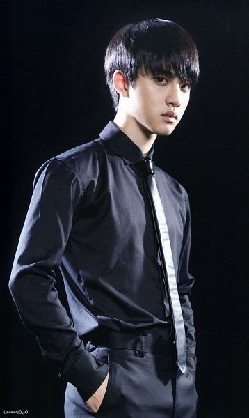 Tags: K-Pop, EXO, EXO-K, D.O, Black Neckwear, Black Shirt, Frown, Tie, Black Pants, Dark Background, Hand In Pocket, Black Background