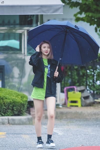 Tags: K-Pop, Dreamcatcher, Dami (Dreamcatcher), Purple Hair, Bush, Shorts, Green Shirt, Holding Object, Black Outerwear, Road, Umbrella, Outdoors