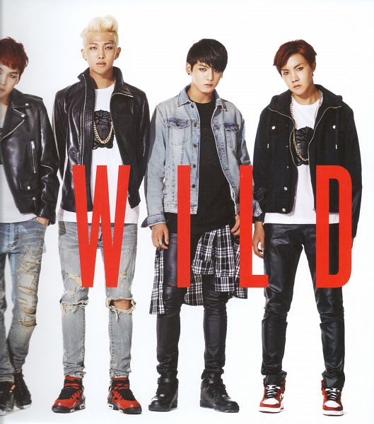 Tags: K-Pop, BTS, Rap Monster, Jungkook, J-Hope, Suga, English Text, Four Males, Red Hair, Gray Pants, Light Background, Tattoo