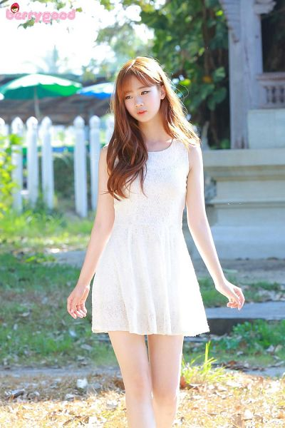 Tags: K-Pop, Berry Good, Because Of You, Daye, Red Hair, Dress, White Outfit, Serious, White Dress, Looking Away