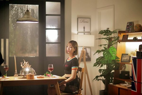 Tags: K-Pop, Berry Good, Daye, Bent Knees, Alcohol, Chair, Blonde Hair, Wine, Table, Short Sleeves, Sitting, Cup