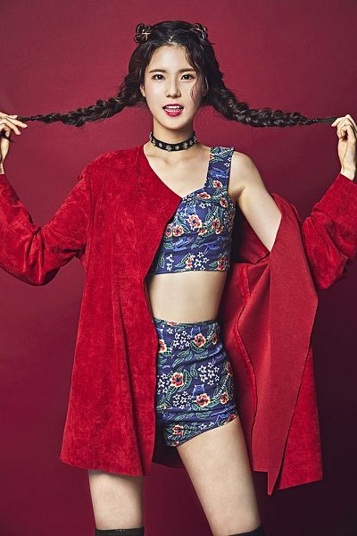 Tags: K-Pop, NeonPunch, Dayeon, Twin Braids, Red Jacket, Twin Buns, Hair Up, Blue Shorts, Hair Buns, Red Outerwear, Hand In Hair, Braids
