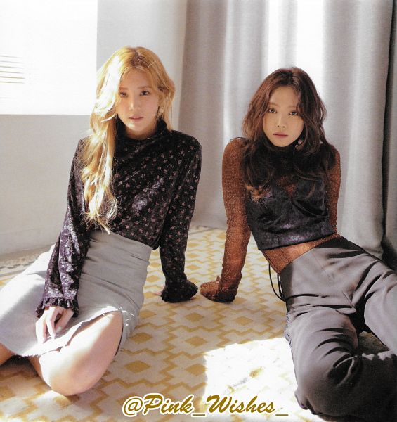 Tags: K-Pop, Apink, Son Na-eun, Park Cho-rong, Floral Print, Red Shirt, Curtain, Black Eyes, Sitting On Ground, Gray Pants, Two Girls, Arm Support