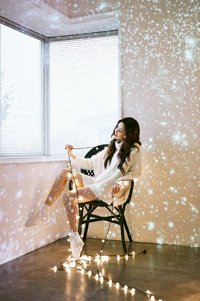 Tags: K-Pop, Girls' Generation, TaeTiSeo, Dear Santa, Seohyun, Sitting On Chair, Eyes Closed, Light Bulb, White Outfit, Socks, White Dress, Chair