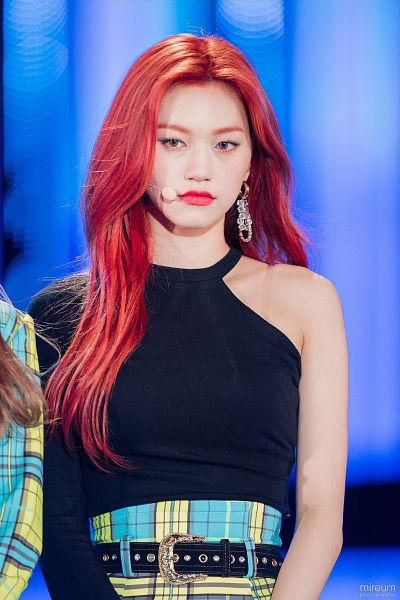 Tags: K-Pop, Weki Meki, Doyeon, Red Lips, Skirt, Blue Eyes, Looking Away, Bare Shoulders, Belt, Plaided Print, Red Hair, Plaided Skirt