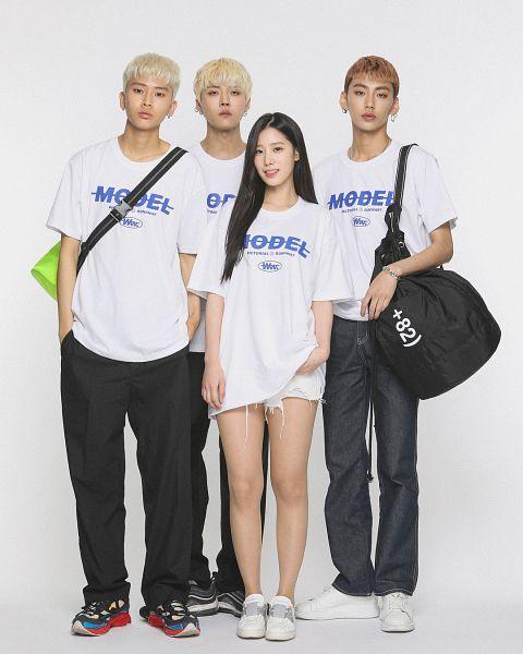 Tags: K-Pop, Berry Good, Johyun, Earrings, Quartet, White Footwear, Red Hair, Blonde Hair, Red Footwear, Teeth, Grin, White Shorts