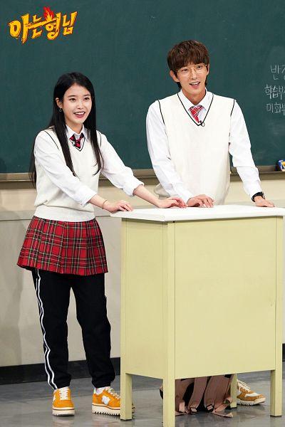 Tags: K-Drama, K-Pop, IU, Lee Jun-ki, Uniform, Plaided Print, Red Skirt, Tie, Black Pants, Plaided Skirt, Skirt, Duo