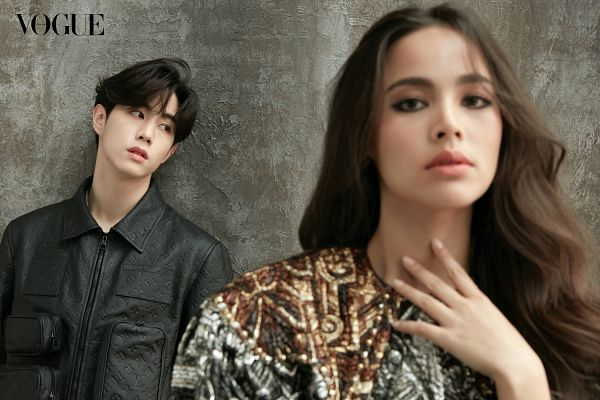 Tags: Lakorn, K-Pop, Got7, Mark, Yaya, Text: Magazine Name, Black Jacket, Wall, Leaning On Wall, Duo, Serious, Vogue Thailand