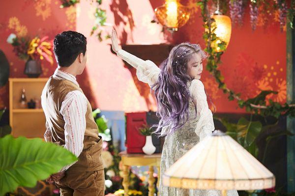 Tags: K-Pop, K-Drama, IU, Lee Hyun-woo, Brown Pants, Wisteria, Brown Outerwear, Plant, Purple Dress, Purple Outfit, Purple Flower, White Outfit