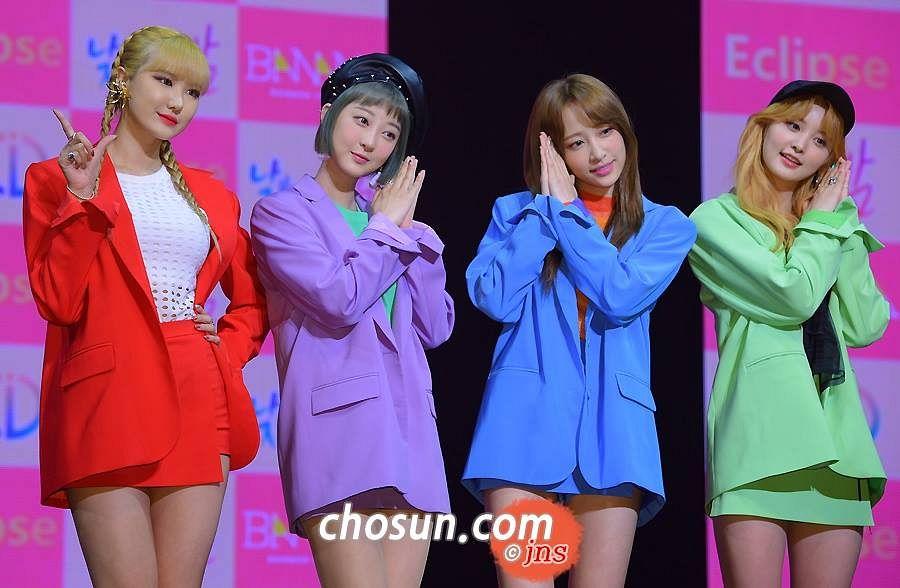 Tags: K-Pop, EXID, Park Junghwa, Le, Seo Hyerin, Hani, Bare Legs, Purple Outerwear, Twin Braids, Green Shirt, Hand On Hip, Red Jacket