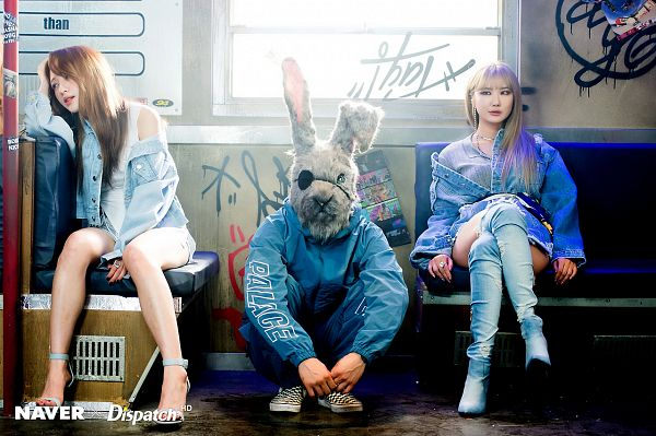Tags: K-Pop, EXID, Le, Hani, Blue Outerwear, Looking Away, Bare Legs, Hand In Hair, Crouching, Thigh Boots, Shoes, High Heeled Boots