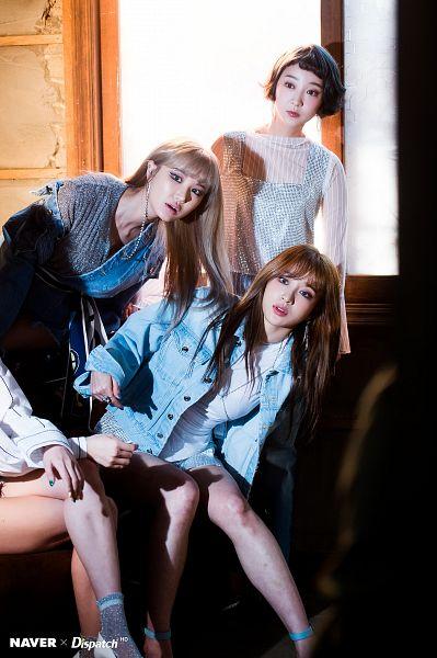 Tags: K-Pop, EXID, Hani, Seo Hyerin, Le, Bend Over, Socks, Bare Legs, High Heels, Crossed Legs, Denim Jacket, Three Girls
