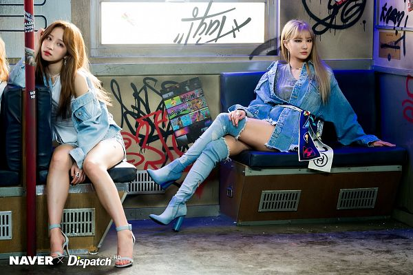 Tags: K-Pop, EXID, Hani, Le, Bare Legs, Full Body, Two Girls, Thigh Boots, High Heeled Boots, Belt, Duo, Denim Jacket