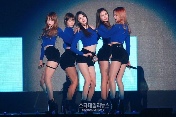 Tags: K-Pop, EXID, Up & Down, Hani, Park Junghwa, Seo Hyerin, Le, Heo Solji, Midriff, Hand On Shoulder, High Heels, Full Group