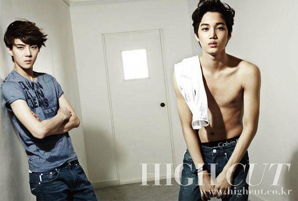 Tags: K-Pop, EXO, Kai, Sehun, White Background, Suggestive, Duo, Text: Magazine Name, Crossed Arms, Underwear, Gray Shirt, Light Background