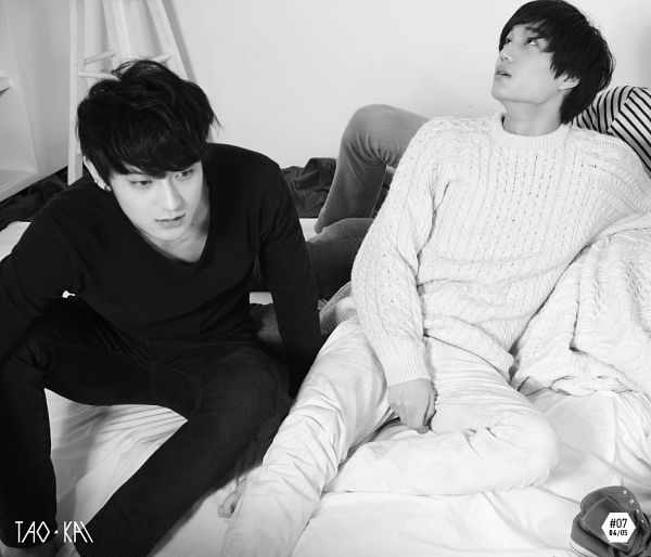 Tags: K-Pop, EXO, Kai, Huang Zi Tao, Laying Down, White Pants, Text: Artist Name, Looking Away, Duo, From Above, Monochrome, Looking Up