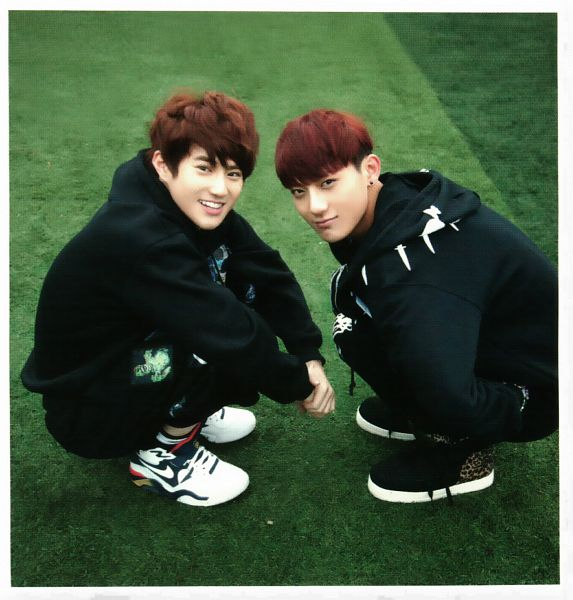 Tags: K-Pop, EXO, Huang Zi Tao, Suho, Black Footwear, Sneakers, Crouching, Black Pants, Outdoors, Shoes, Duo, Black Jacket
