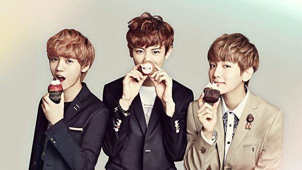 Tags: K-Pop, EXO, Byun Baekhyun, Chanyeol, Luhan, Cherry, Sweets, Covering Mouth, Black Jacket, Fruits, Eating, Trio