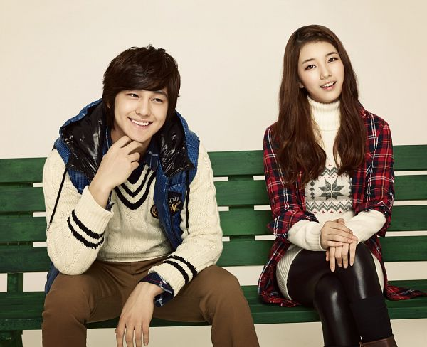 Tags: K-Drama, K-Pop, Miss A, Bae Suzy, Kim Bum, Sitting On Bench, Duo, Plaided Print, Bench, Crossed Legs, Grin, Edwin