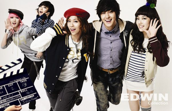Tags: K-Pop, K-Drama, Miss A, Bae Suzy, Meng Jia, Min, Kim Bum, Wang Feifei, Hat, Quintet, Pink Hair, Grin