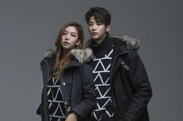 Tags: K-Drama, Lee Ho-jung, Byun Woo-seok, Serious, Duo, Fur, Gray Background, Fur Trim, Coat, Elvine