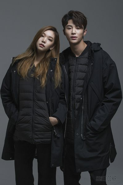 Tags: K-Drama, Byun Woo-seok, Lee Ho-jung, Serious, Duo, Gray Background, Hand In Pocket, Coat, Elvine