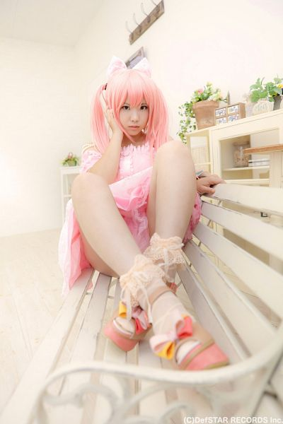 Tags: DefSTAR RECORDS, J-Pop, Panache, Kirameki Miraizu, Enako, Pink Dress, Pink Outfit, Wig, Full Body, Bow, Bracelet, Underwear