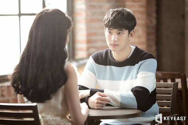 Tags: K-Drama, K-Pop, Ending Scene, IU, Kim Soo-hyun, Sitting, Sitting On Chair, Striped, Striped Shirt, Short Hair, Duo, Bent Knees