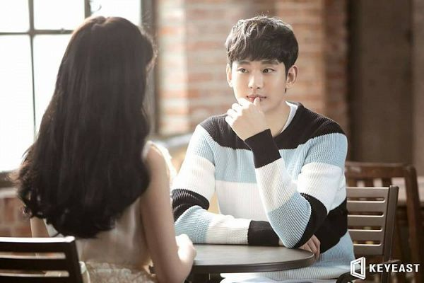 Tags: K-Pop, K-Drama, Ending Scene, IU, Kim Soo-hyun, Striped Shirt, Table, Striped, Bent Knees, Sitting, Window, Sitting On Chair
