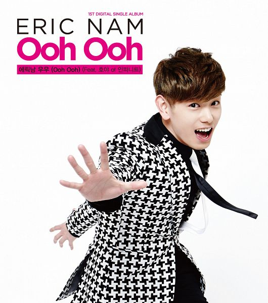 Tags: K-Pop, Ooh Ooh, Eric Nam, Light Background, Text: Artist Name, Black Pants, White Background, Text: Album Name, English Text, Suit, Blunt Bangs, Tie