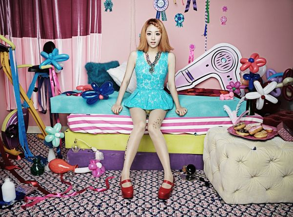 Tags: Ladies Code, Pretty Pretty, EunB, Medium Hair, Red Footwear, Shorts, On Bed, Bed, Necklace, Blue Shirt, Full Body