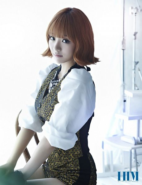 Tags: K-Pop, Ladies Code, EunB, Light Background, White Background, Medium Hair, Text: Magazine Name, Shorts, Gold Jacket, Him