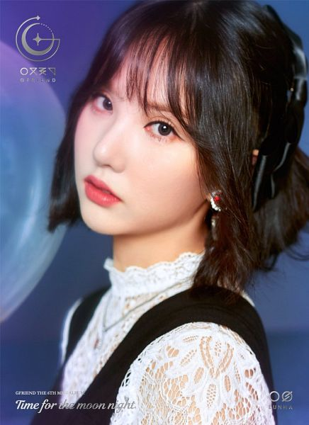 Tags: K-Pop, G-friend, Eunha, Earrings, Text: Artist Name, English Text, Text: Album Name, Blunt Bangs, Blue Background, Bangs, Necklace, Close Up
