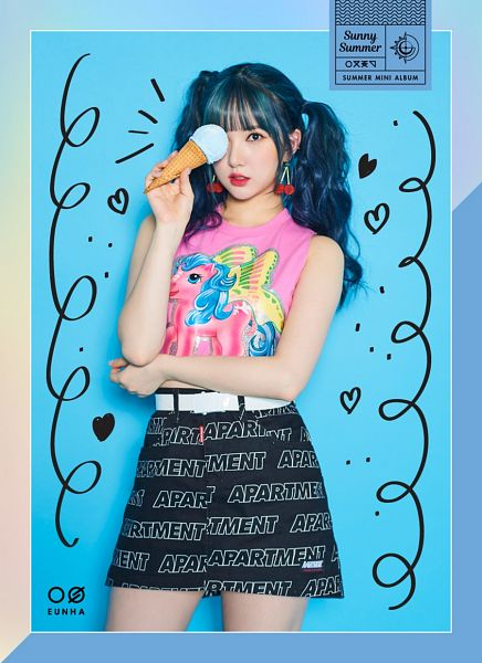 Tags: K-Pop, G-friend, Eunha, Black Skirt, Pink Shirt, Blue Hair, Red Lips, Belt, Cherry, Blue Background, Sweets, Skirt