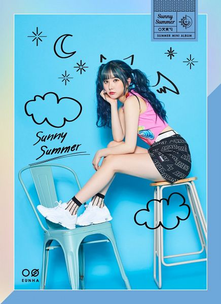 Tags: K-Pop, G-friend, Eunha, Black Skirt, Skirt, Pink Shirt, Blue Hair, Blue Background, Full Body, Cherry, Sitting, Serious
