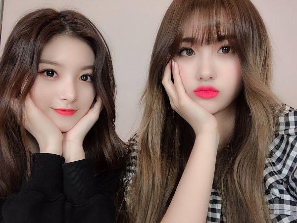 Tags: K-Pop, Everglow, Wang Yiren, Aisha, Duo, Looking Ahead, Gray Background, Gray Shirt, Hand On Head, Chin In Hand, Checkered, Two Girls