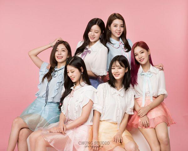 Tags: K-Pop, Berry Good, Daye, Seoyul, Gowoon, Taeha, Johyun, Kang Sehyung, Full Group, Grin, Blue Shirt, Pink Background