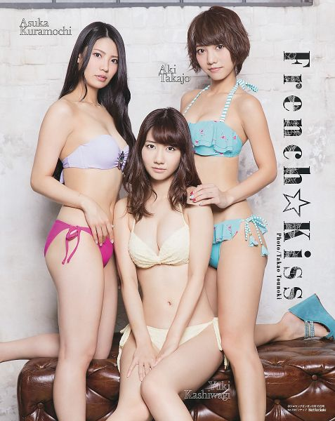 Tags: J-Pop, AKB48, NGT48, French Kiss, Takajo Aki, Kuramochi Asuka, Kashiwagi Yuki, Midriff, Suggestive, Swimsuit, Bikini