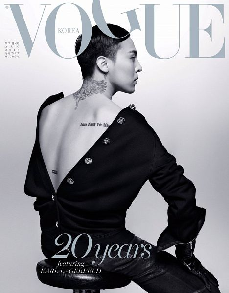 Tags: K-Pop, BIGBANG, G-Dragon, Chair, Text: Magazine Name, Sitting On Chair, Back, Tattoo, Monochrome, VOGUE Korea, Magazine Scan, Magazine Cover