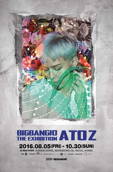 Tags: YG Entertainment, K-Pop, BIGBANG, G-Dragon, Text: Artist Name, English Text, Gray Hair, Eyes Closed, Bigbang10 The Exhibition A To Z, Android/iPhone Wallpaper, Poster