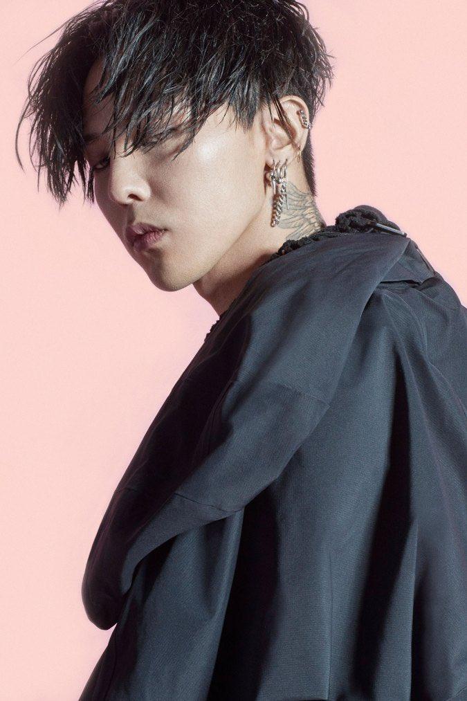 Tags: YG Entertainment, K-Pop, BIGBANG, G-Dragon, Black Jacket, Pink Background, Tattoo, Covering Eyes, Nike