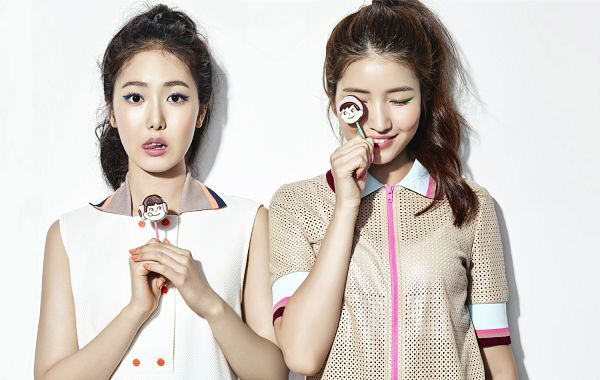 Tags: K-Pop, G-friend, SinB, Sowon, Eyes Closed, Tongue, Hair Up, Two Girls, Ponytail, Light Background, Duo, White Background